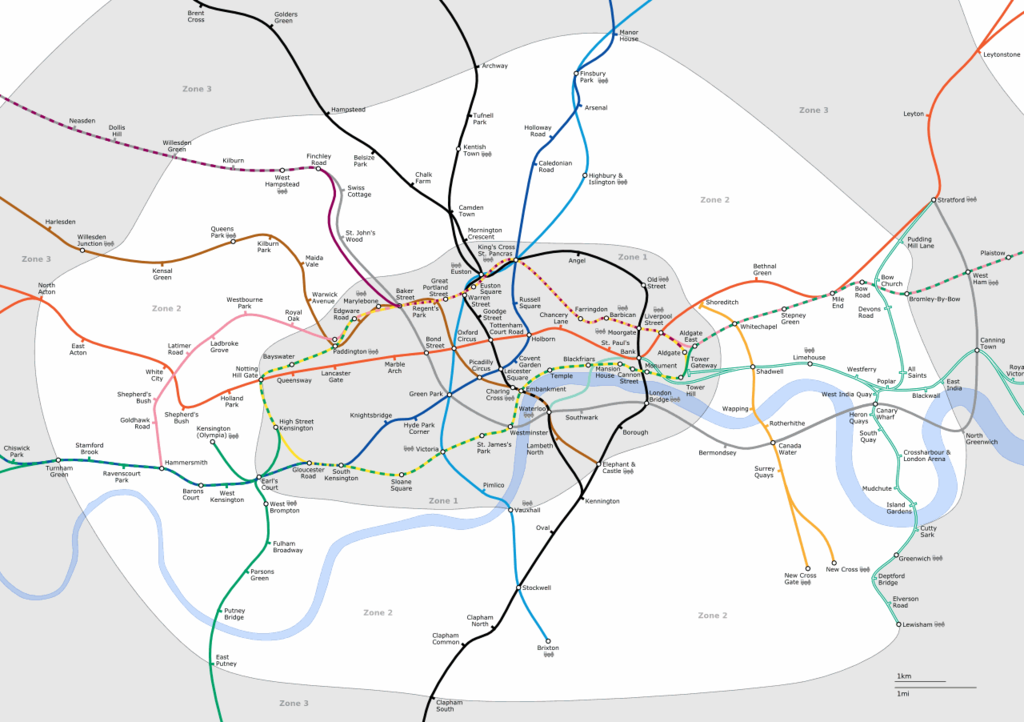 London Underground geographical map